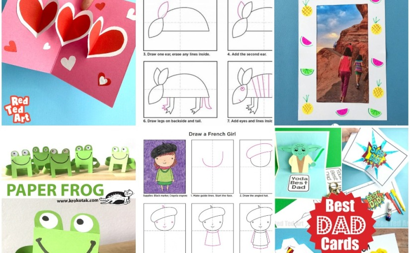 05.03 Crafts: Heart Pop Up Card, Fruity Photo Frame, Paper Frog, Draw an Armadillo and Girl, Father's Day Cards