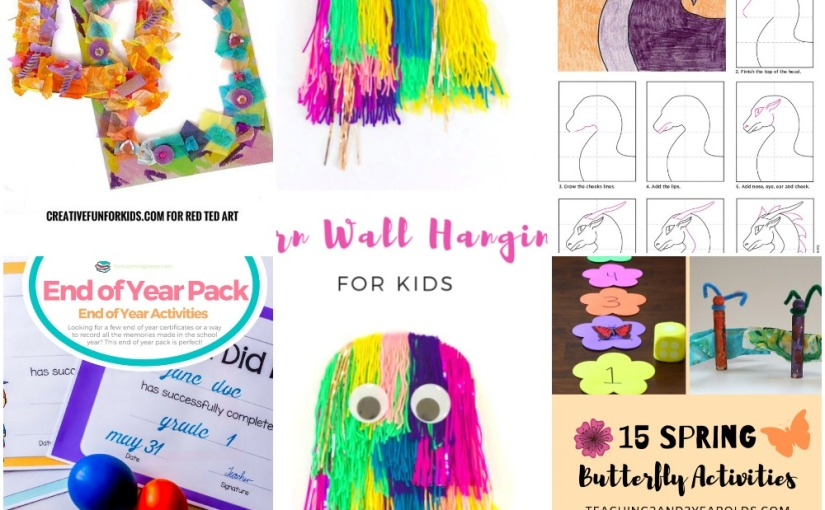05.04 Cardboard Photo Frame, Yarn Wall Hanging, Draw a Dragon Head, Year Certificates and Memory, SpringButterfly