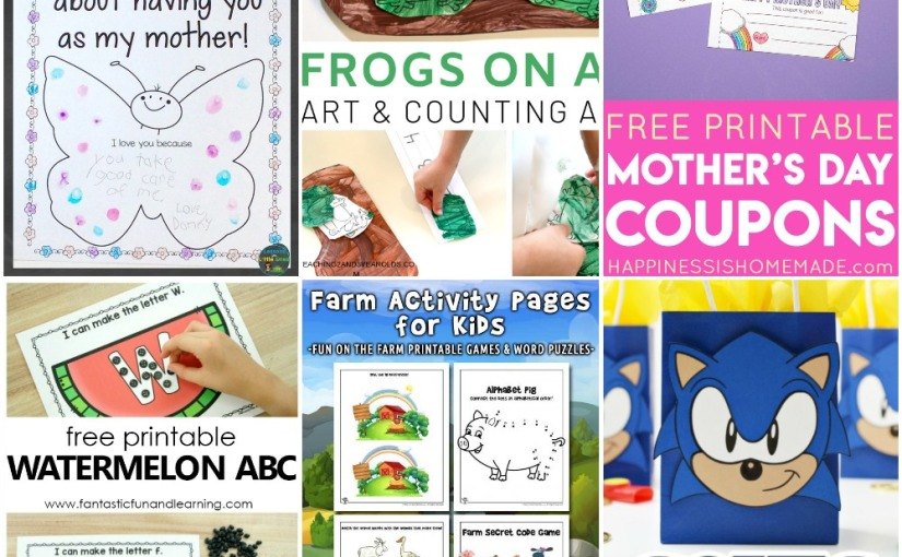 05.06 Printables: Frog Counting, Mother's Day Coupons and Butterfly, Farm Pages, Watermelon ABC, Sonic Party Bags